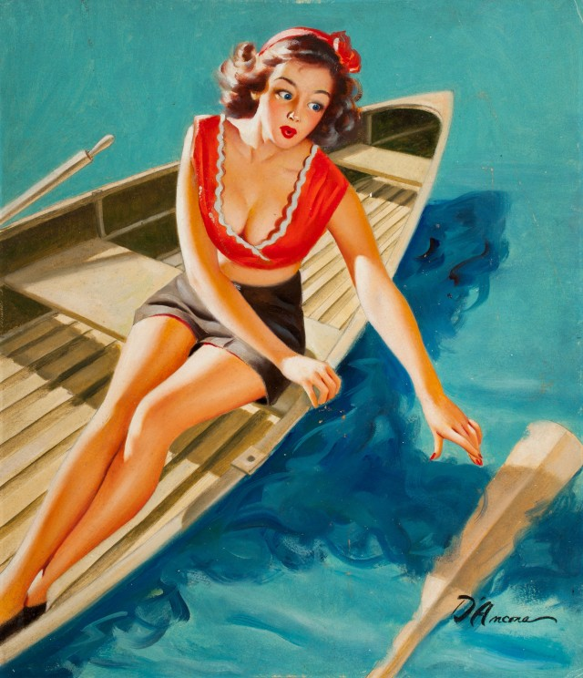 Pin-up in a row boat